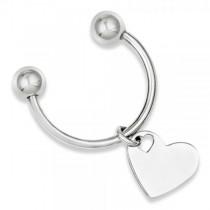 Heart Key Chain in Plain Metal Sterling Silver