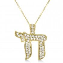 Diamond Chai Pendant Necklace 14K Yellow Gold (0.75ct)