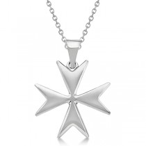 Maltese Cross Pendant for Men or Women Crafted from 14K White Gold