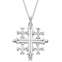 Crusaders' Jerusalem Cross Pendant for Men or Women in 14k White Gold
