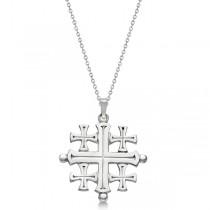 Crusaders' Jerusalem Cross Pendant for Men or Women in 14k White Gold