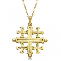 Crusaders' Jerusalem Cross Pendant for Men or Women in 14k Yellow Gold