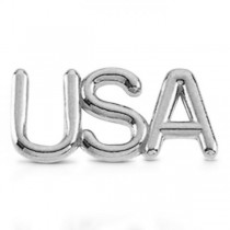 USA Lapel Pin Patriotic Jewelry in 14k White Gold