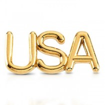 USA Lapel Pin Patriotic Jewelry in 14k Yellow Gold