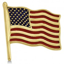 USA American Flag Lapel Pin with Red & Blue Enamel 14K Yellow Gold