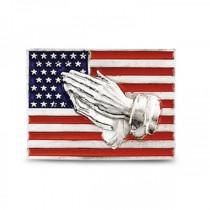Red, White & Blue American Flag Pin w/ Praying Hands 14k White Gold