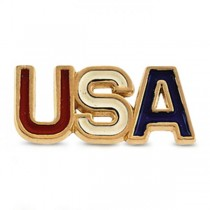 Men's Patriotic Jewelry, USA Lapel Pin w/ Enamel in 14k Yellow Gold