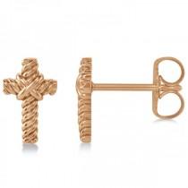 Cross Rope Stud Earrings in Plain Metal 14k Rose Gold