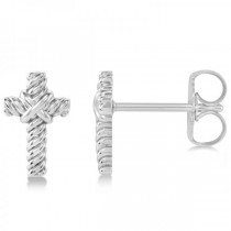 Cross Rope Stud Earrings in Plain Metal 14k White Gold