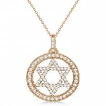 Star of David Diamond Circle Pendant Necklace 14k Rose Gold (0.90ct)