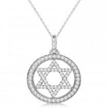 Star of David Diamond Circle Pendant Necklace 14k White Gold (0.90ct)