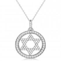Star of David Diamond Circle Pendant Necklace 14k White Gold (0.90ct)