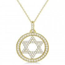 Star of David Diamond Circle Pendant Necklace 14k Yellow Gold (0.90ct)