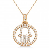 Hand of God Diamond Hamsa Pendant Necklace 14k Rose Gold (0.45ct)