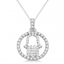 Hand of God Diamond Hamsa Pendant Necklace 14k White Gold (0.45ct)