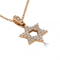 Diamond Jewish Star of David Pendant Necklace 14k Rose Gold (0.33ct)