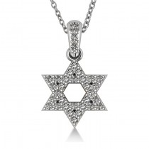 Diamond Jewish Star of David Pendant Necklace 14k White Gold (0.33ct)