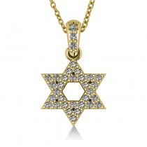 Diamond Jewish Star Pendant Necklace 14k Yellow Gold (0.33ct)