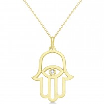 Hamsa Evil Eye Diamond Pendant Necklace 14k Yellow Gold (0.02ct)