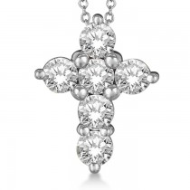 Prong Set Round Diamond Cross Pendant Necklace 14k White Gold (3.00ct)