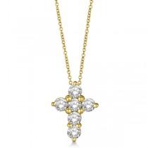 Prong Set Round Diamond Cross Pendant Necklace 14k Yellow Gold (3.00ct)