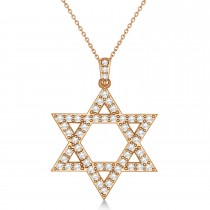 Diamond Jewish Star of David Pendant Necklace 14k Rose Gold (1.05ct)