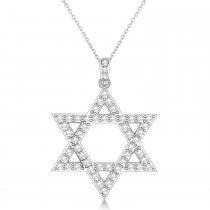 Diamond Jewish Star of David Pendant Necklace 14k White Gold (1.05ct)