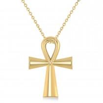 Petite Ankh Egyptian Cross Pendant Necklace 14k Yellow Gold