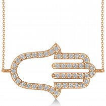 Sideways Hamsa Diamond Pendant Necklace 14k Rose Gold (0.23ct)