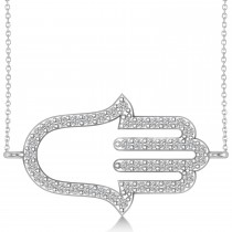 Sideways Hamsa Diamond Pendant Necklace 14k White Gold (0.23ct)