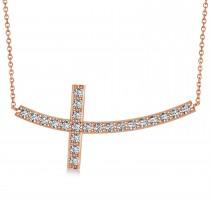 Diamond Sideways Curved Cross Pendant Necklace 14k Rose Gold 1.10ct