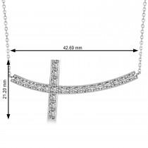 Diamond Sideways Curved Cross Pendant Necklace 14k White Gold 1.10ct