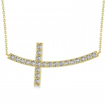 Diamond Sideways Curved Cross Pendant Necklace 14k Yellow Gold 1.10ct