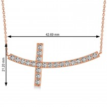 Diamond Sideways Curved Cross Pendant Necklace 14k Rose Gold 1.54ct