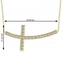 Diamond Sideways Curved Cross Pendant Necklace 14k Yellow Gold 1.54ct