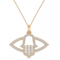 Evil Eye Hamsa Diamond Pendant Necklace 14k Rose Gold (0.52ct)