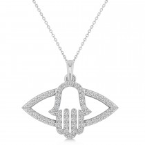 Evil Eye Hamsa Diamond Pendant Necklace 14k White Gold (0.52ct)
