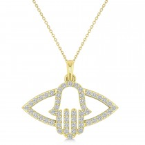 Evil Eye Hamsa Diamond Pendant Necklace 14k Yellow Gold (0.52ct)