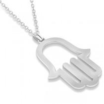 Hamsa Amulet Necklace Plain Metal Pendant 14K White Gold