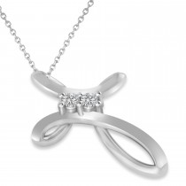 Diamond Two Stone Swirl Cross Pendant Necklace 14k White Gold (0.10ct)