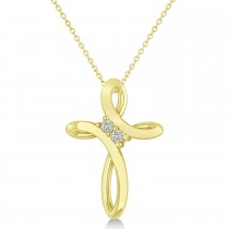 Diamond Two Stone Swirl Cross Pendant Necklace 14k Yellow Gold (0.10ct)
