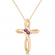 Amethyst Two Stone Religious Cross Pendant Necklace 14k Rose Gold (0.10ct)