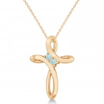 Aquamarine Two Stone Religious Cross Pendant Necklace 14k Rose Gold (0.10ct)