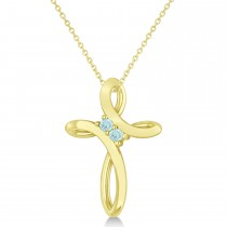 Aquamarine Two Stone Religious Cross Pendant Necklace 14k Yellow Gold (0.10ct)