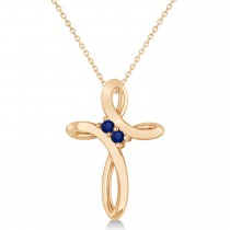 Blue Sapphire Two Stone Swirl Cross Pendant Necklace 14k Rose Gold (0.10ct)