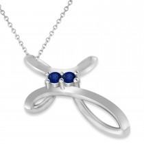 Blue Sapphire Two Stone Swirl Cross Pendant Necklace 14k White Gold (0.10ct)