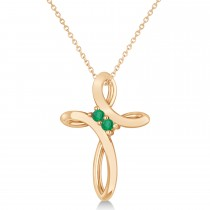 Emerald Two Stone Swirl Cross Pendant Necklace  14k Rose Gold (0.10ct)