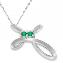 Emerald Two Stone Swirl Cross Pendant Necklace 14k White Gold (0.10ct)