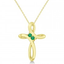 Emerald Two Stone Swirl Cross Pendant Necklace 14k Yellow Gold (0.10ct)