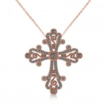 Diamond Byzantine Cross Pendant Necklace in 14k Rose Gold (0.50ct)